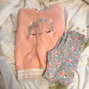 Girls floral kitty legging outfit